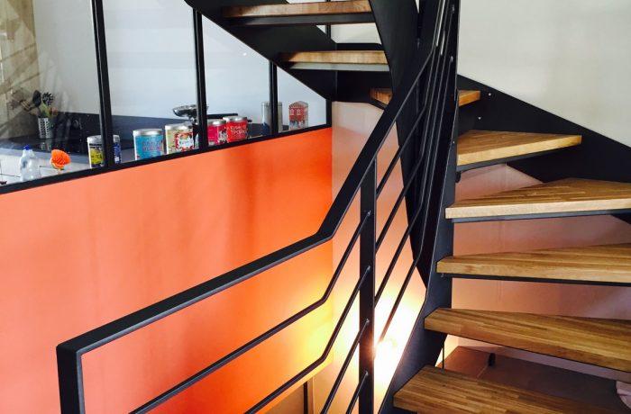 Escalier acier & bois